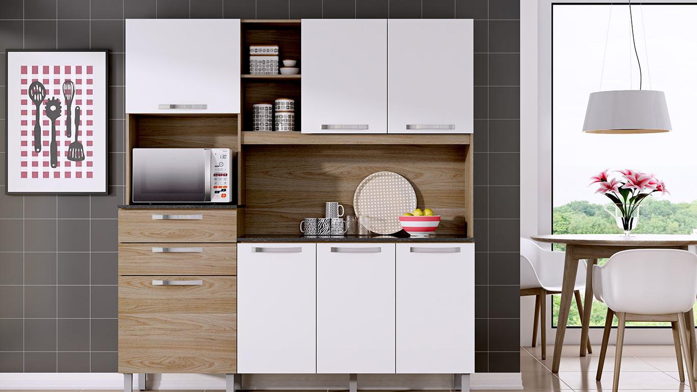 Kit Cozinha Compacta Canela 180 Com 7 Portas 2 Gavetas Carvalho