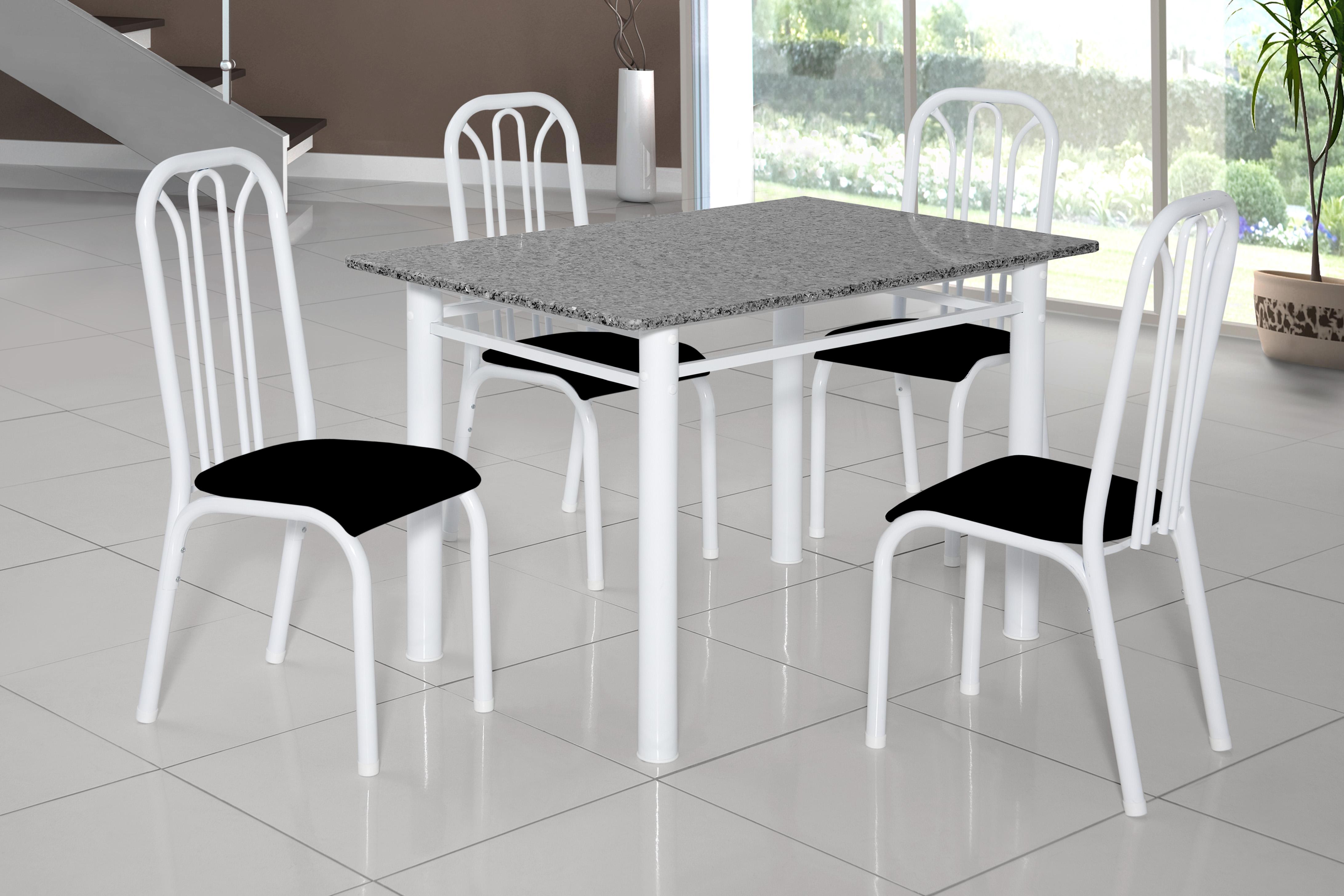Mesa De Jantar Lion 3 4 Cadeiras Tampo Granito Branco Ciplafe