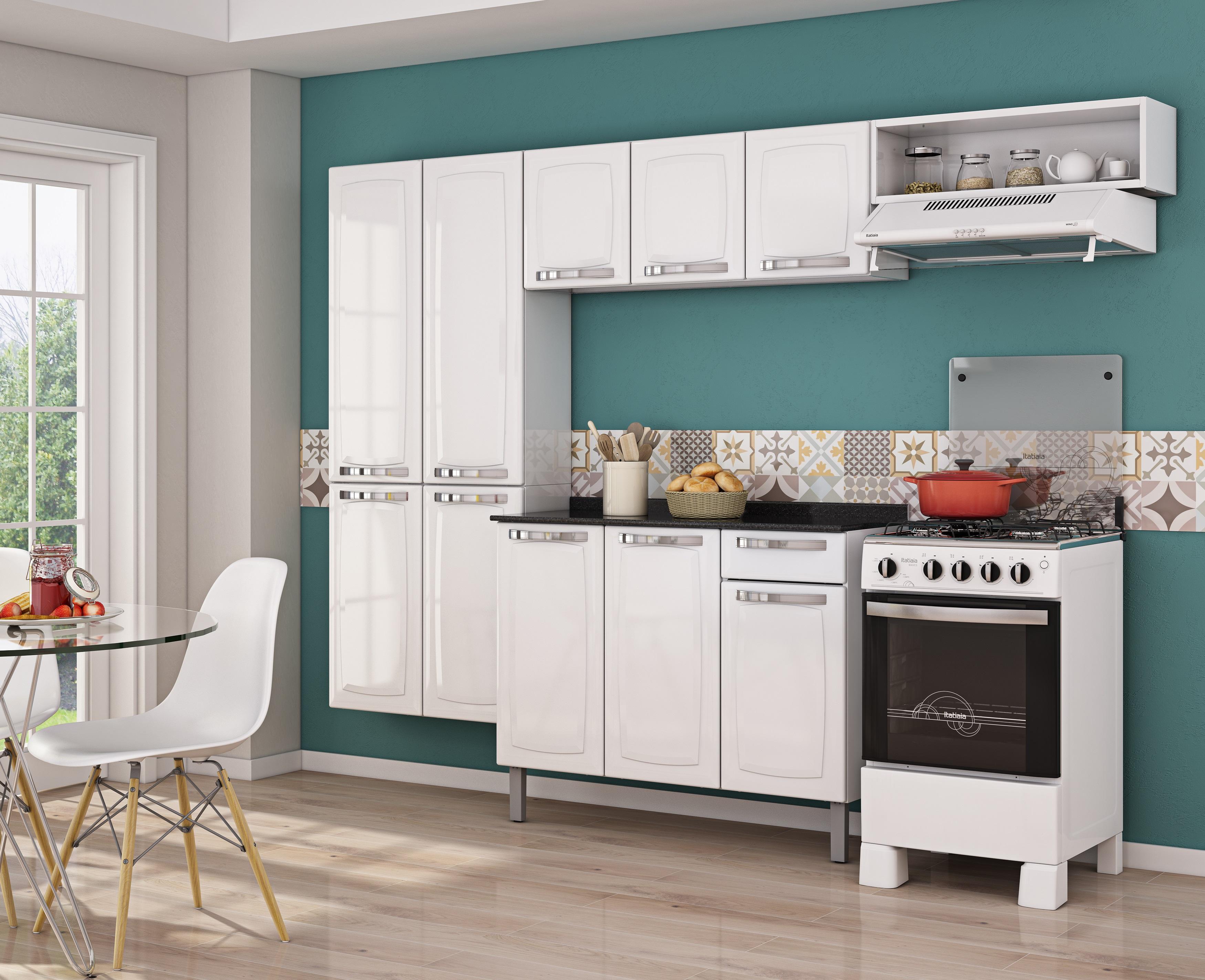 Cozinha Rose é composta paneleiro duplo 4 portas armário superior  #6B443B 3500 2847
