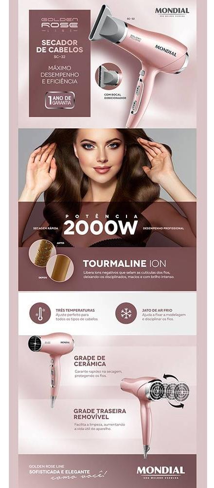 139259861 O Secador de Cabelos Golden Rose SC32 da Mondial é um produto de alto  desempenho com design sofisticado e moderno que tornará o cuidado dos seus  cabelos ...