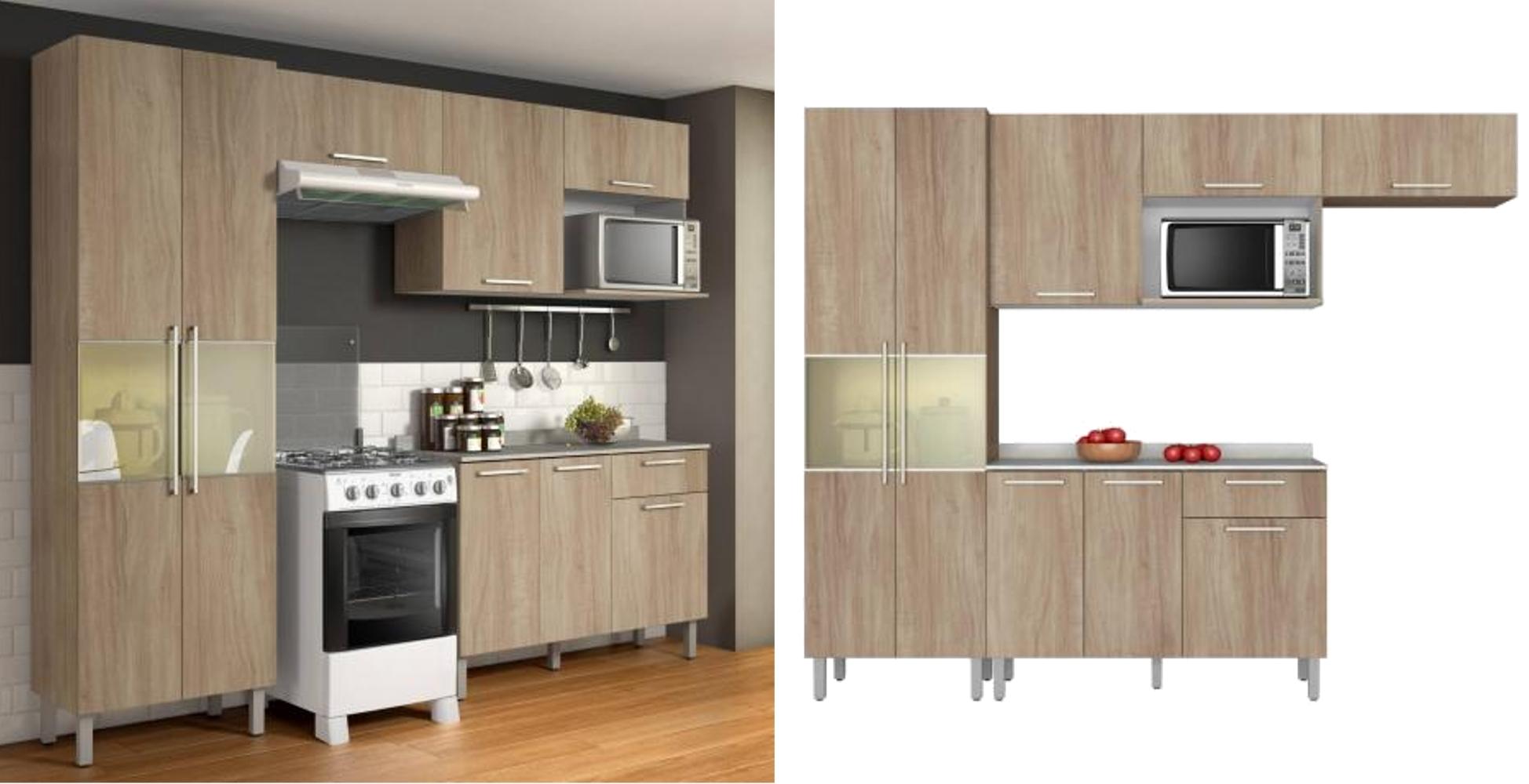 Cozinha Compacta 4 Pe As Com Balc O E Paneleiro Star Aveiro Oak